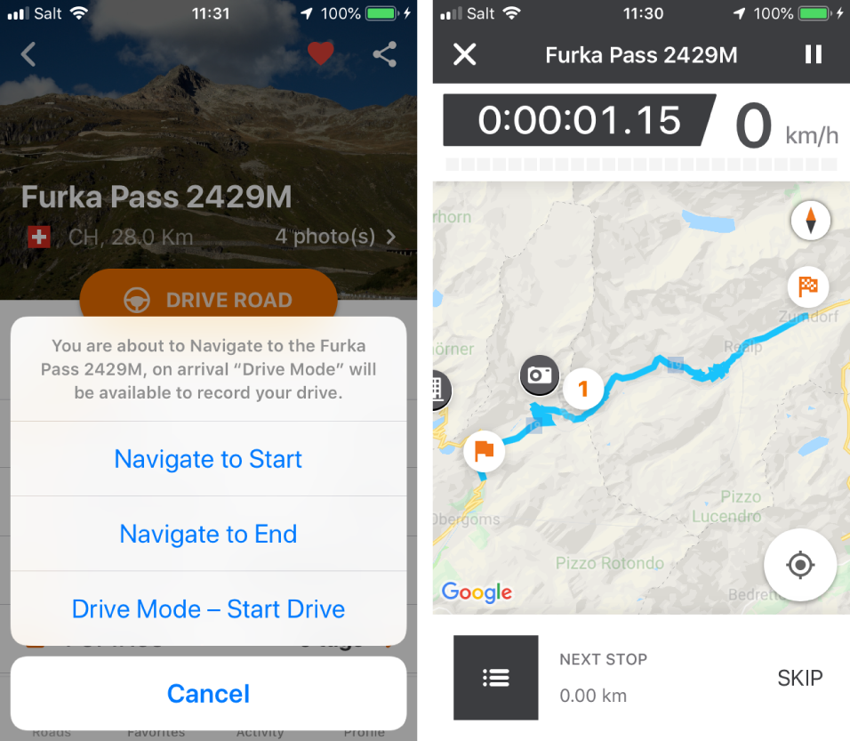 Activate Drive Mode to navigate through the route and record your drive