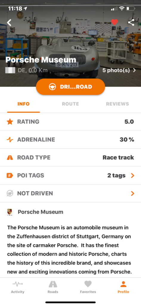 Ultimate Drives App - Business Experience